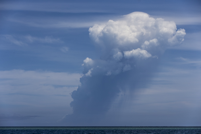 The mushroom cloud from Hunga Ha'apai volcano, from Nuku'alofa Harbour.